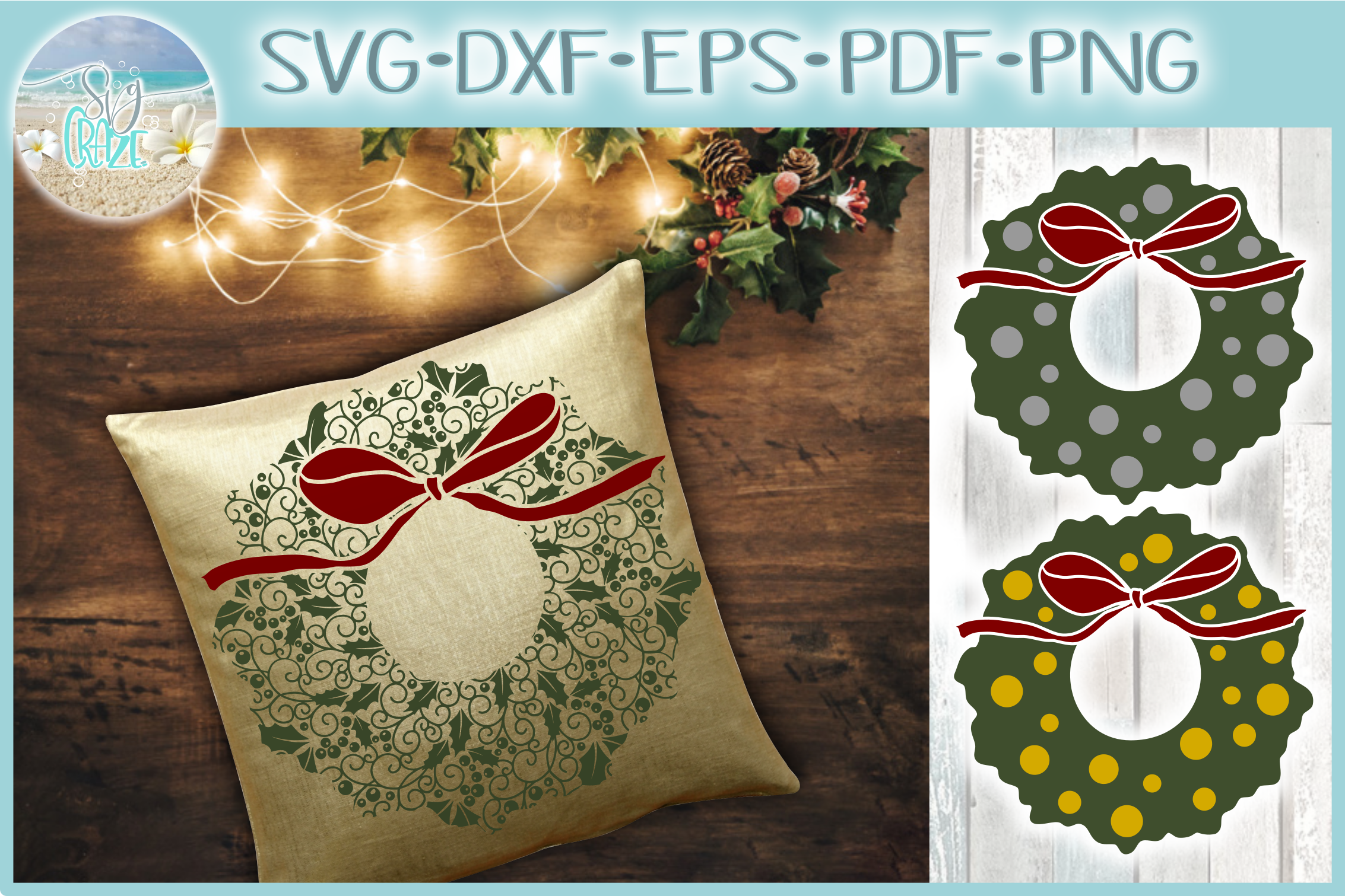 Christmas Wreath with Bow Mandala SVG Dxf Eps Png PDF files example image 1