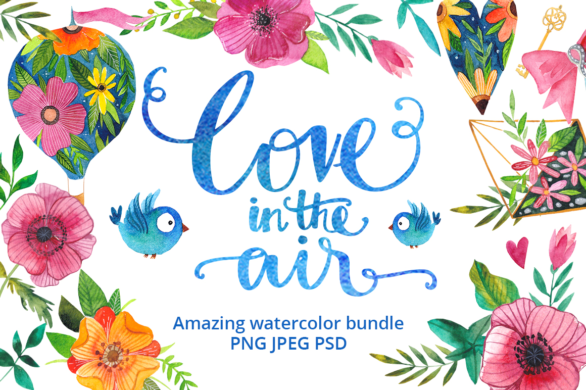 Love in the air - watercolor bundle example image 1