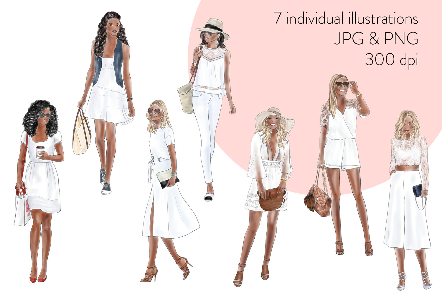 Fashion illustration clipart - Girls in summer white - Dark skin example image 2