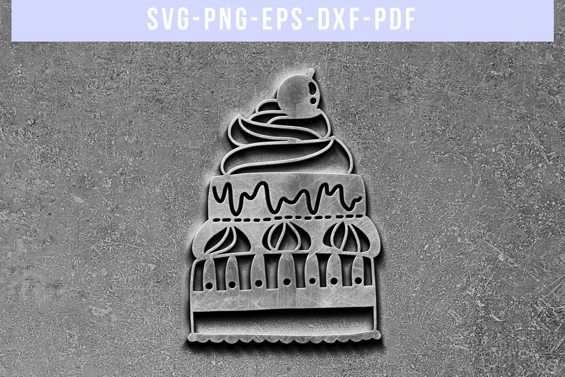 Birthday Party Invitation Papercut Template, Cake SVG, PDF example image 5