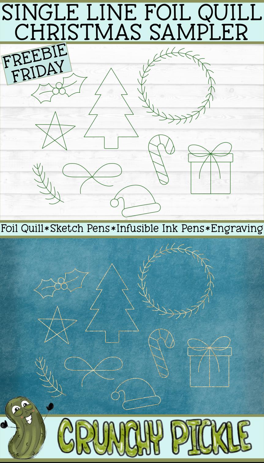 Foil Quill Christmas Sampler / Single Line Sketch SVG example image 3
