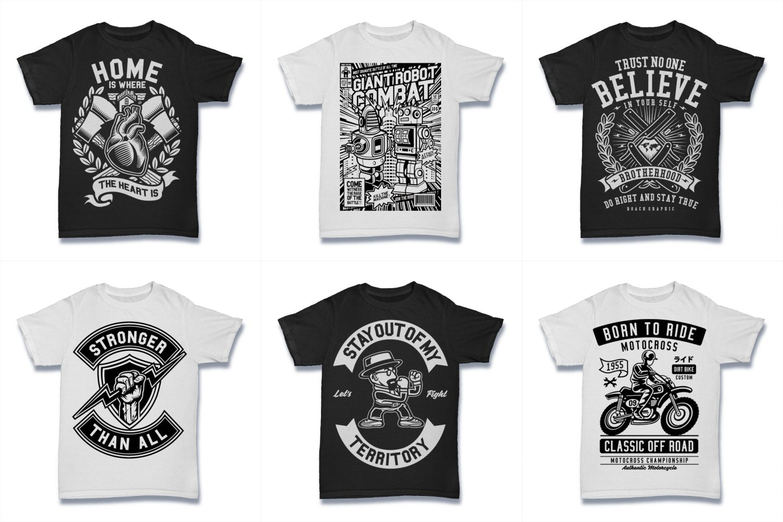 100  Vector Tshirt Designs ( B/W Concept ) example image 13