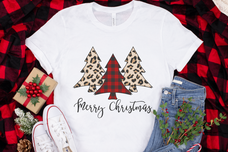 Merry Christmas - Leopard - Buffalo Plaid Christmas Tree SVG example image 4