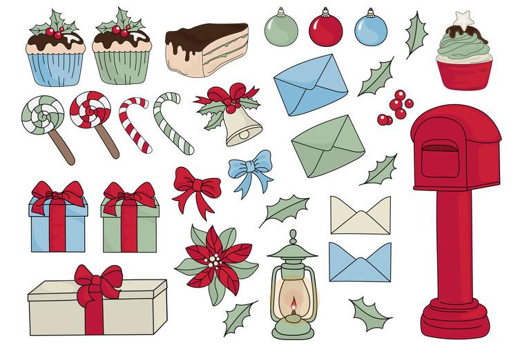 CHRISTMAS MERMAID Vector Illustration Set example image 13