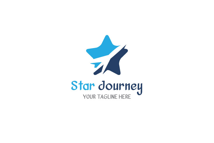 Airplane Star Travel Logo example image 1