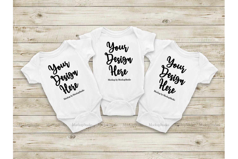 Baby White Bodysuit Mockup, Newborn Toddler Triplet Mock Up example image 1