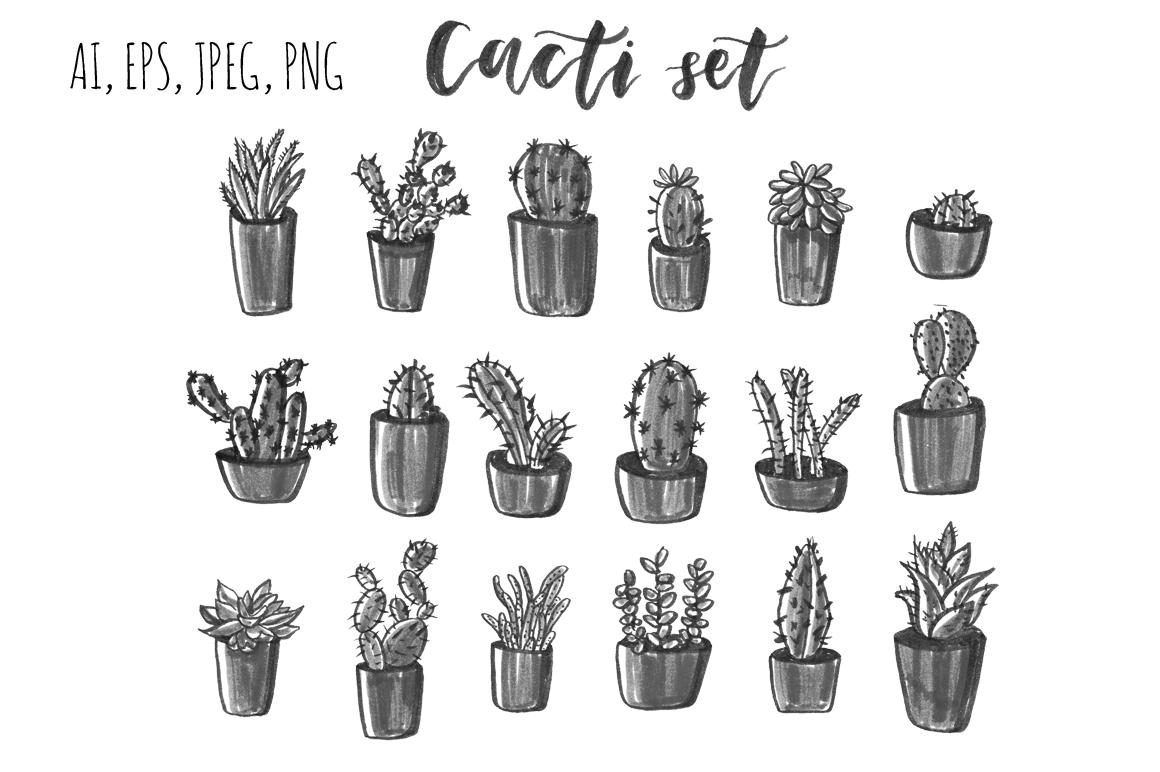 Cacti hand drawn set. example image 3