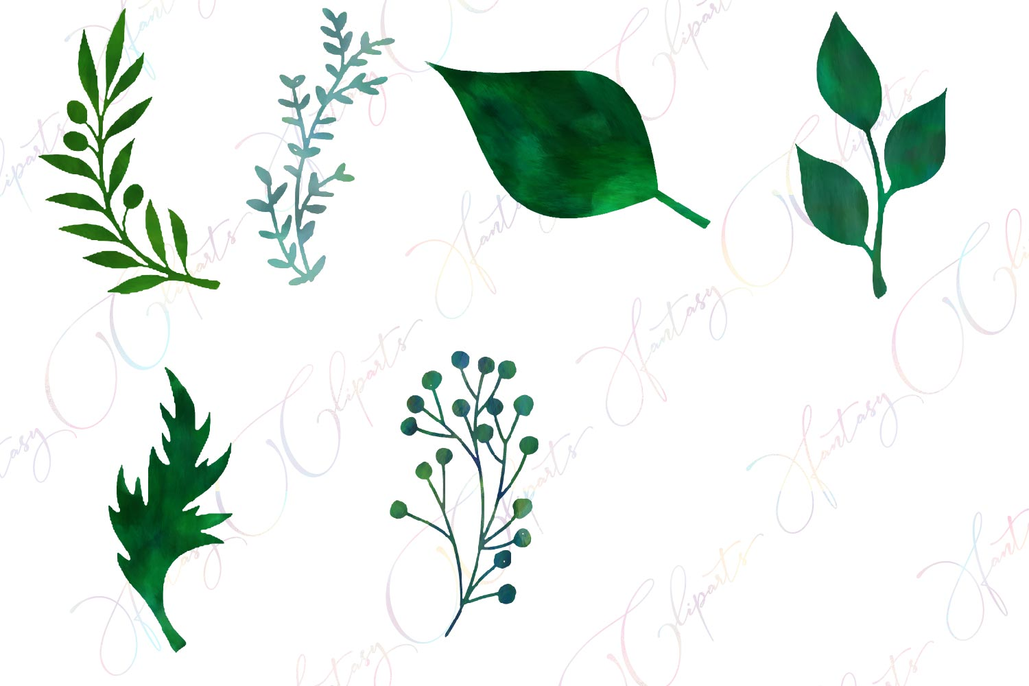 Watercolor Greenery Clipart example image 3