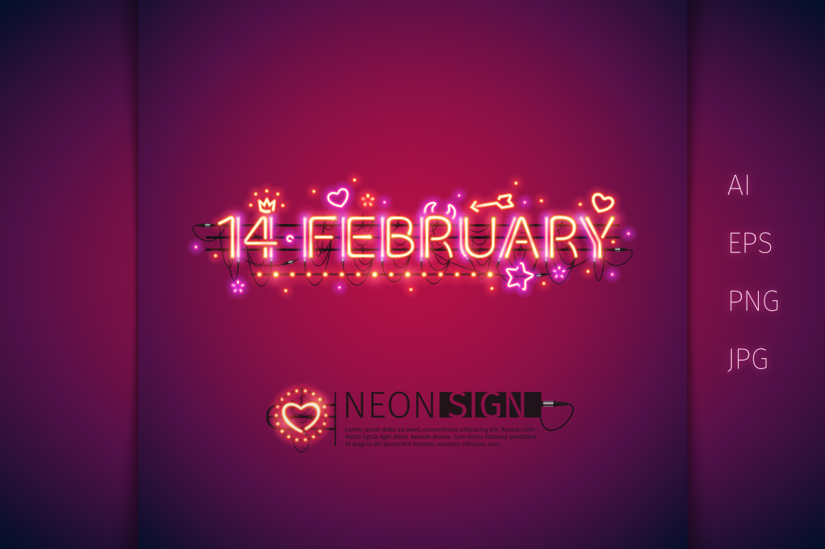 Glowing Valentine's Neon Type example image 4