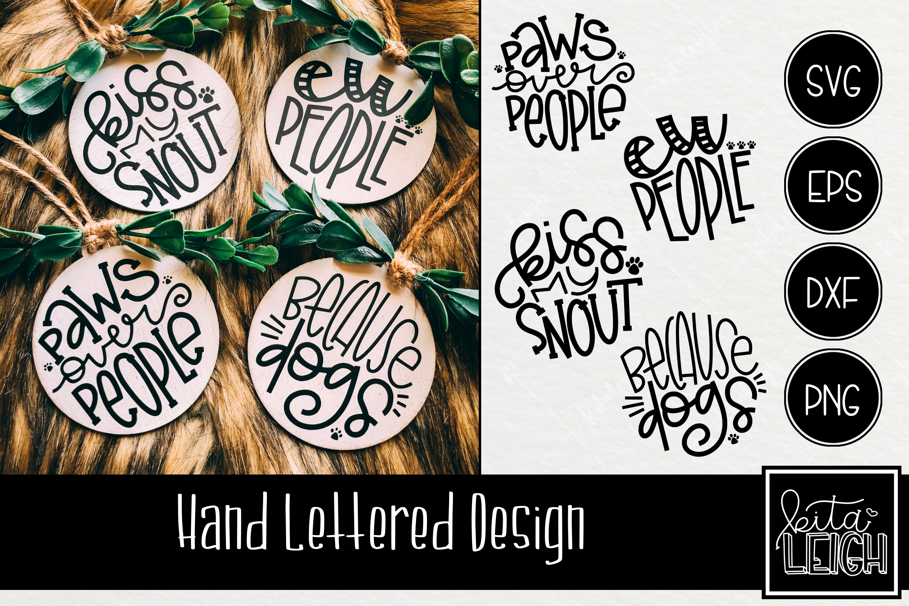 Dog Hand Lettered Rounds SVG example image 1