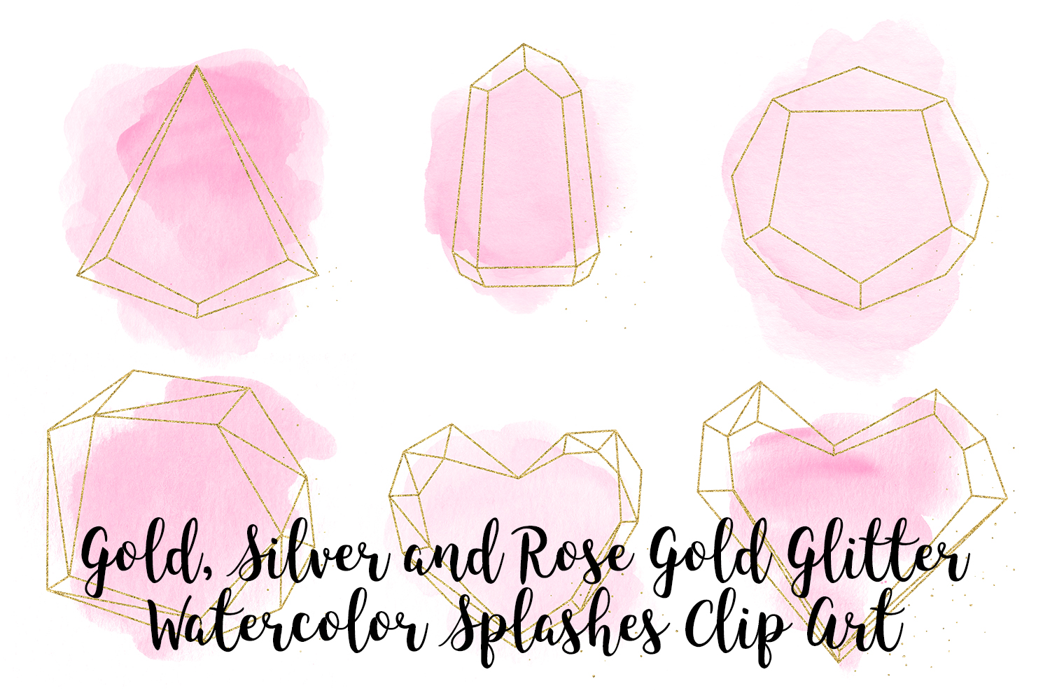 Gold, Silver and Rose Gold Crystals with Pink Watercolor example image 1