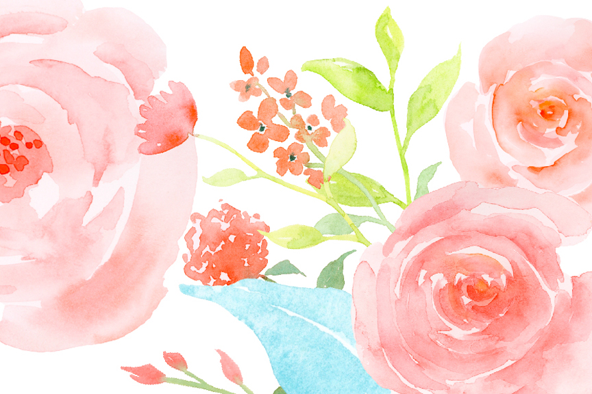 Watercolor Flower Collection Rose Garden Clipart Example Image 4