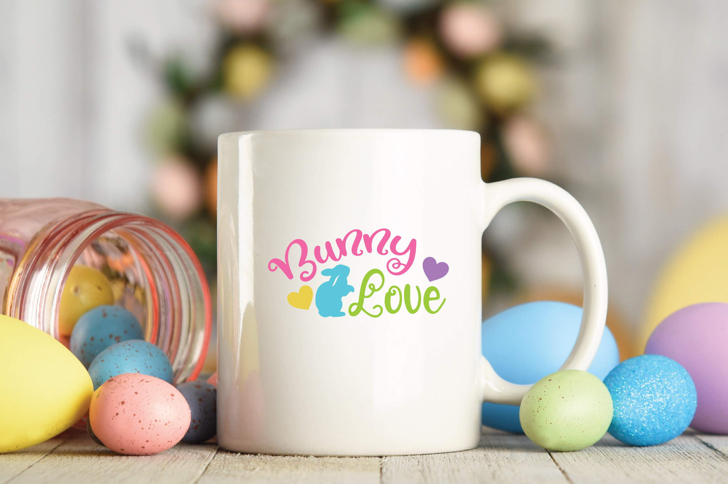 Easter SVG Cut File - Bunny Love SVG DXF EPS PNG AI example image 4