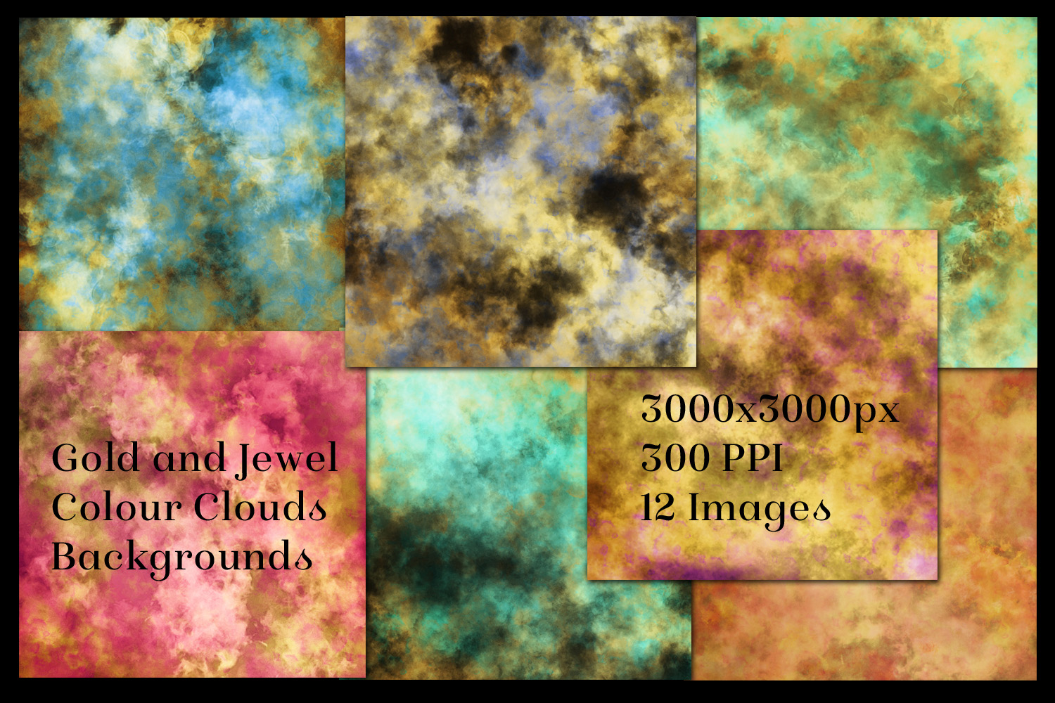 Gold and Jewel Colour Clouds Backgrounds - 12 Image Set example image 2