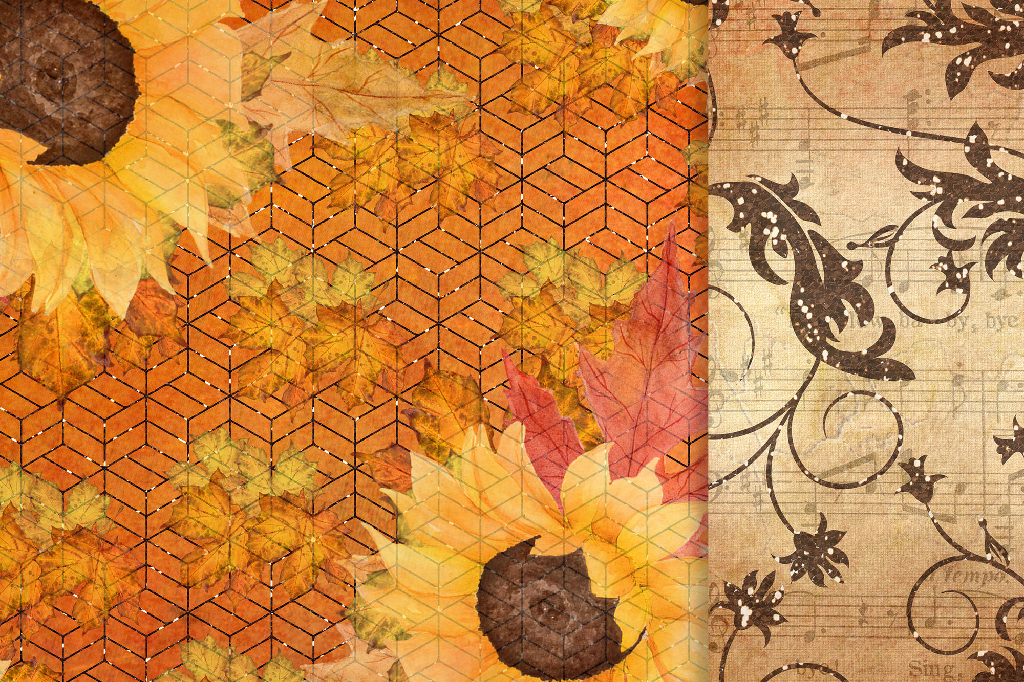 Fall digital papers, Sunflower papers,Autumn paper pack, 6x6 example image 4