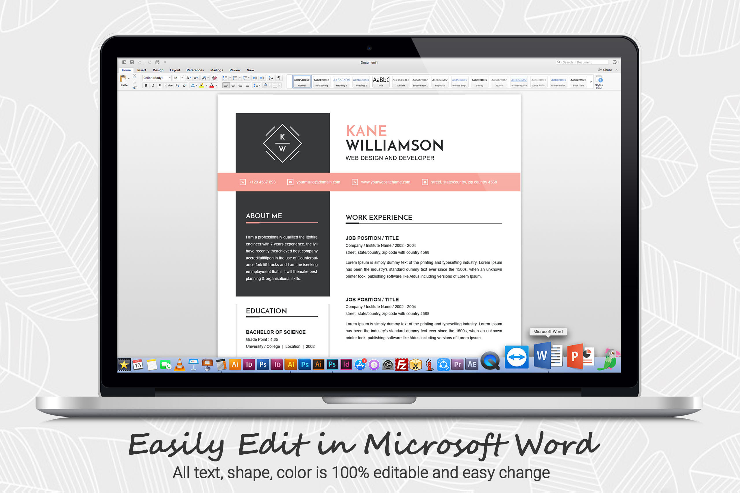 Professional Resume Template | MS Word CV Design Template example image 4