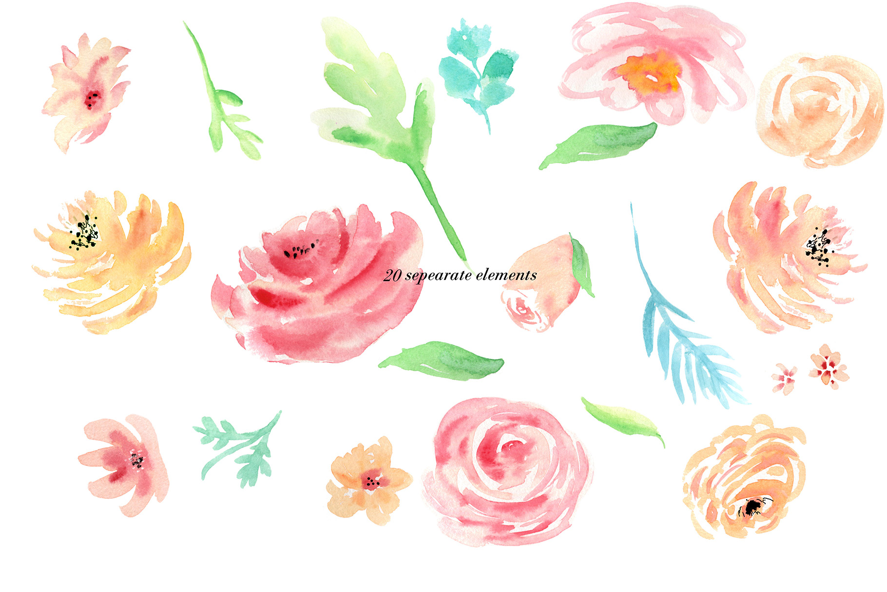 Watercolor flowers clip art. For wedding invitations, scrapbook, thank you card, logo creations. BOHO, Hand painted Watercolor floral example image 5