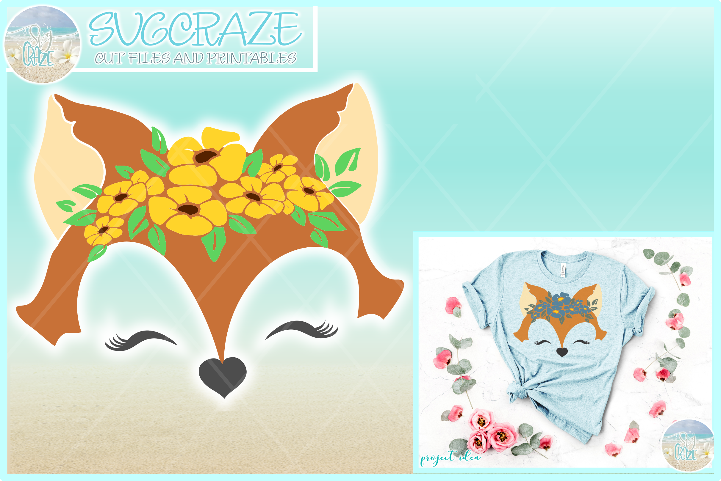 Fox Face With Flowers Svg Dxf Eps Png Svg Files example image 1
