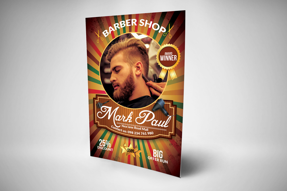 Barber Shop Psd Flyer Template example image 2