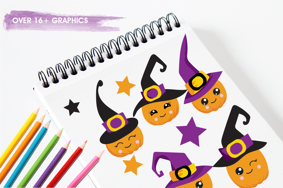 Witchy Halloween pumpkins graphics and illustrations example image 3
