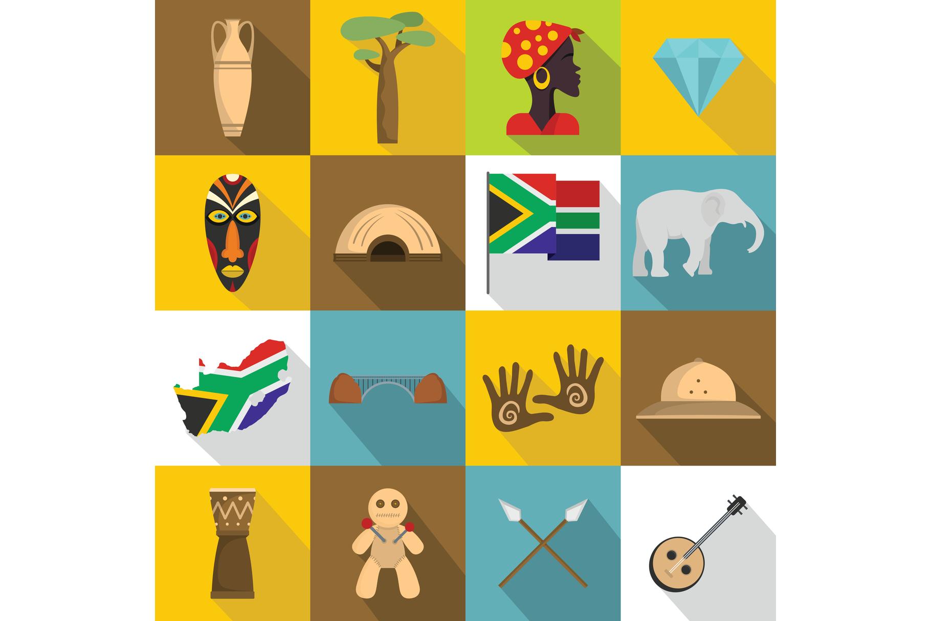 South Africa travel icons set, flat style example image 1