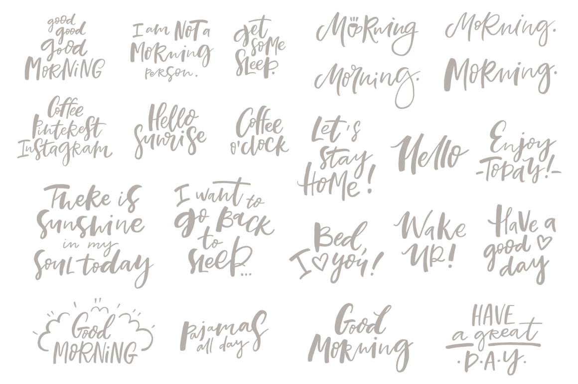 Morning Lettering set example image 6
