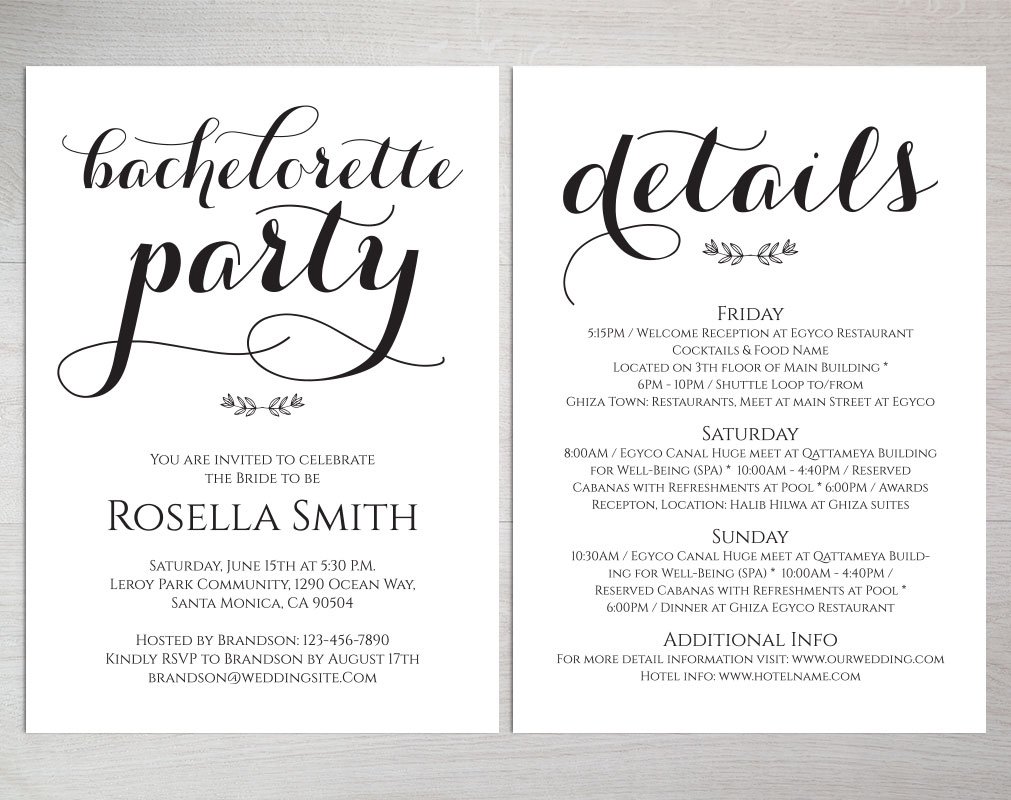Bachelorette Party Invitations, TOS_50 example image 5