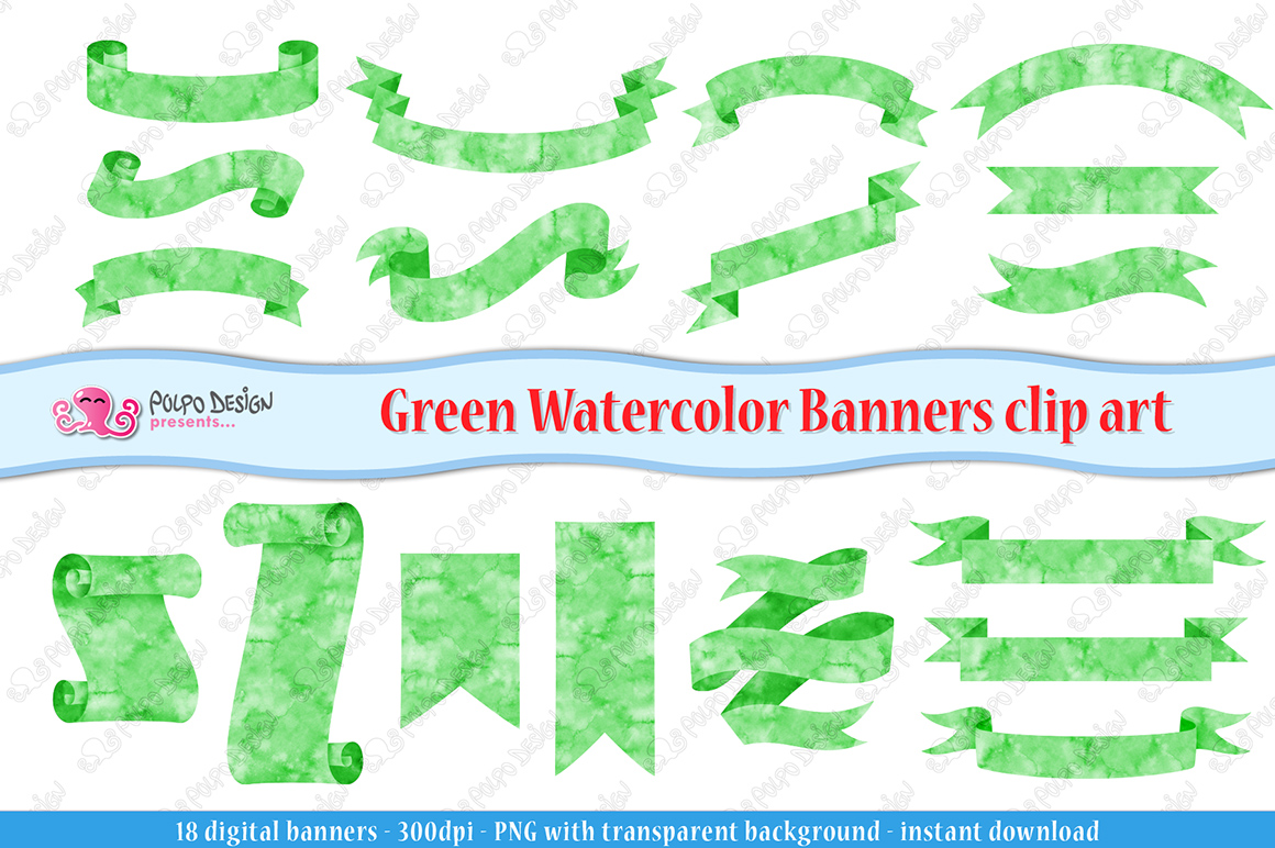 Green Watercolor Banner clip art example image 3