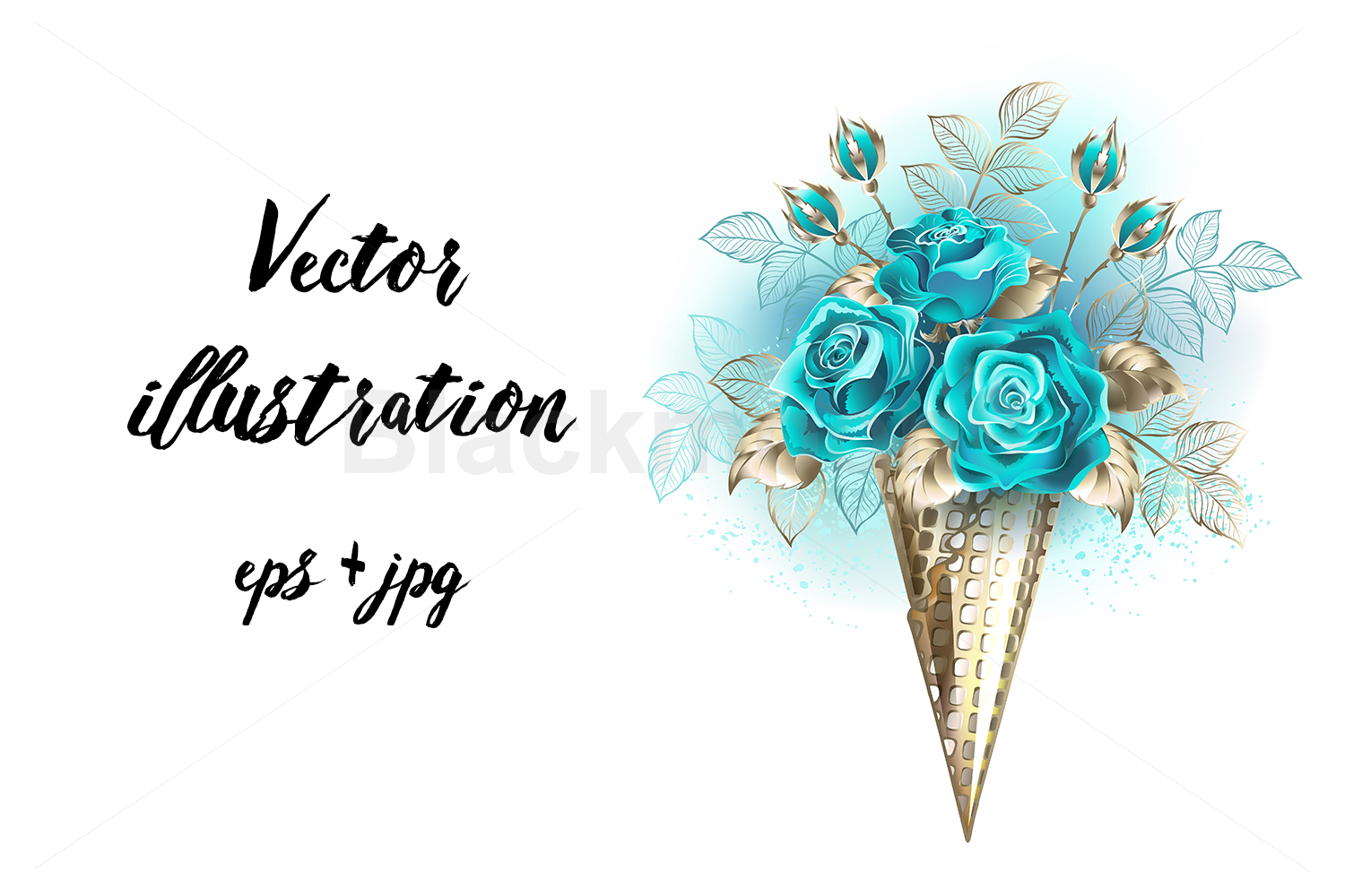 Waffle Cone with Turquoise Roses example image 1