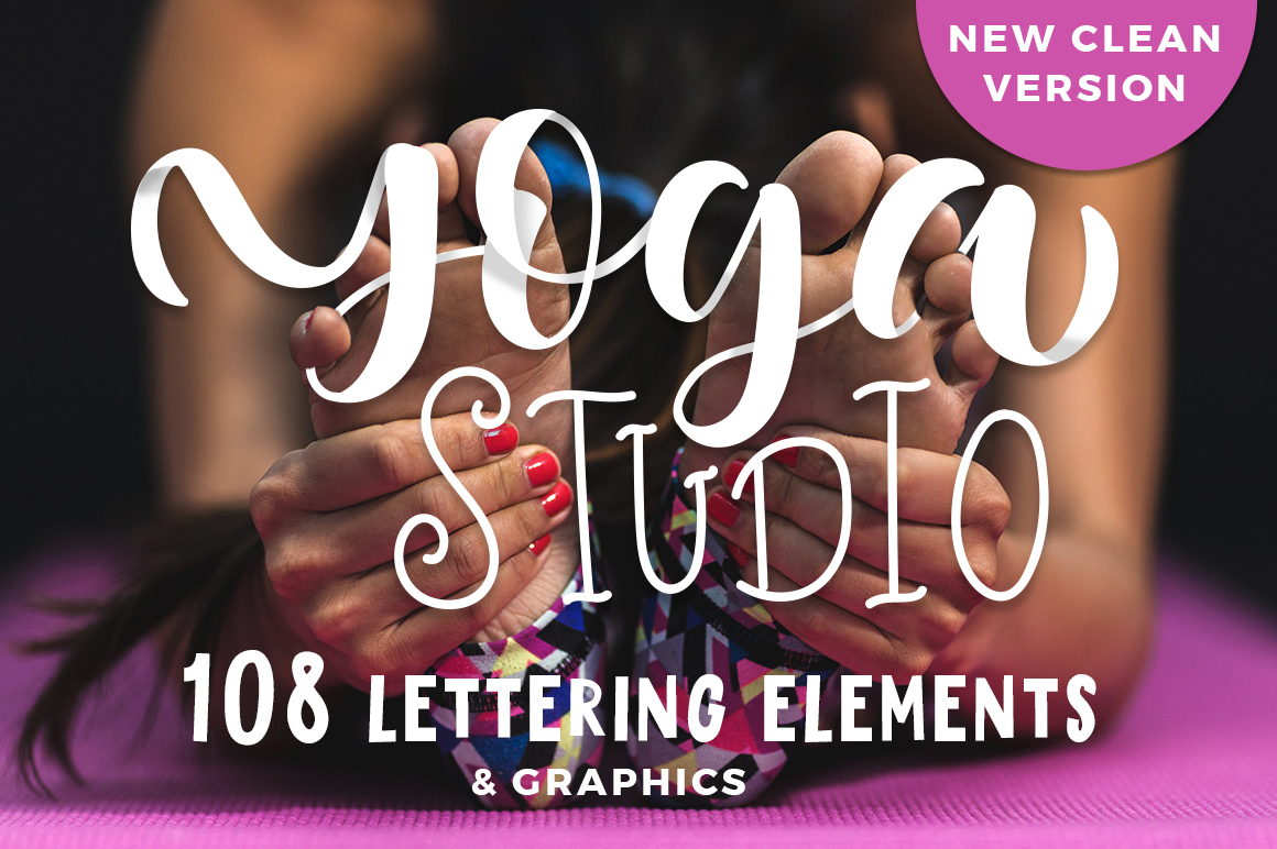 Yoga studio lettering & graphic set example image 1
