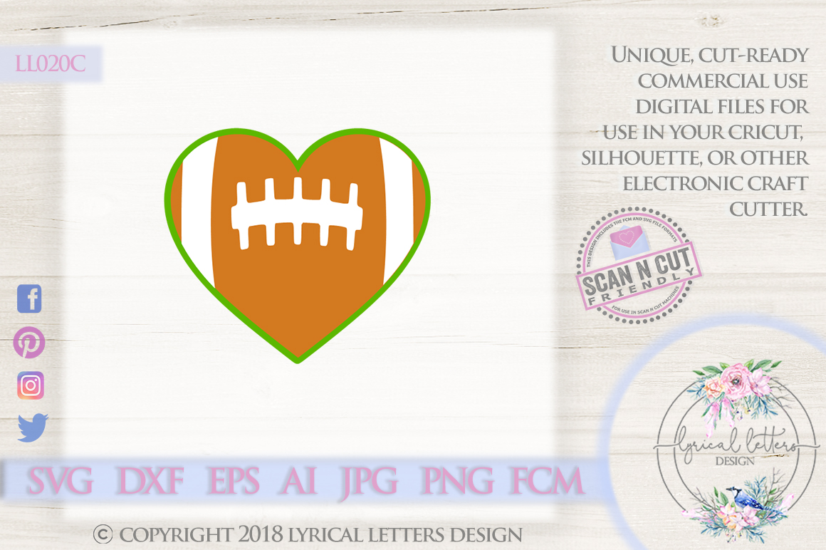 Football Heart SVG DXF Cut File LL020C example image 1