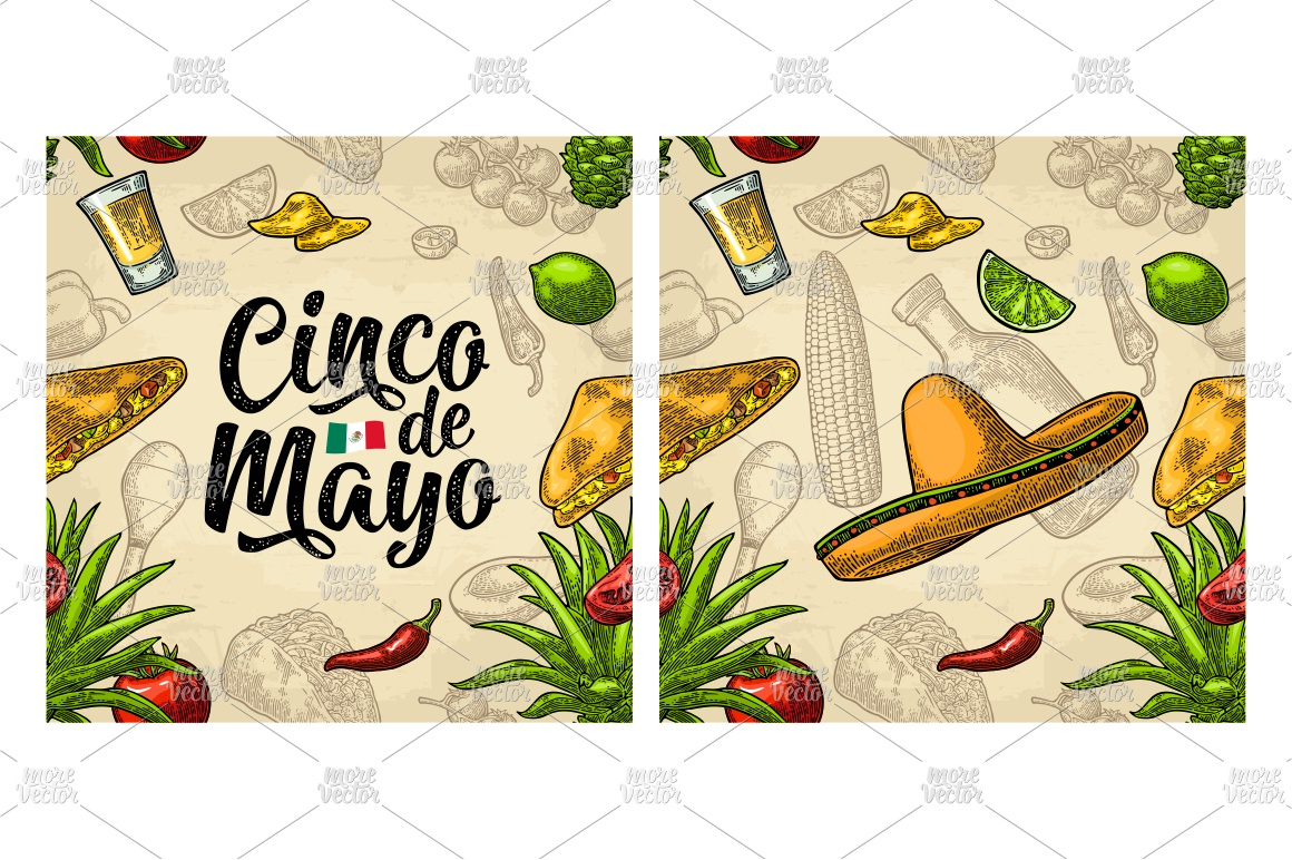 Cinco de Mayo lettering and mexican food. Vector engraving example image 6