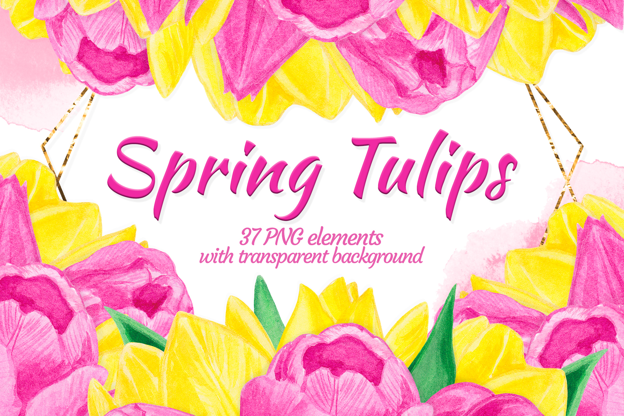 Pink yellow floral clipart Watercolor tulip constructor example image 1