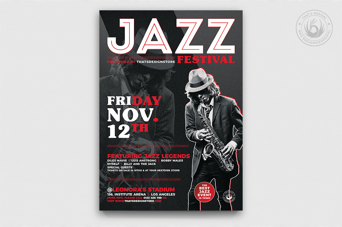 Jazz Festival Flyer Template V3 example image 1