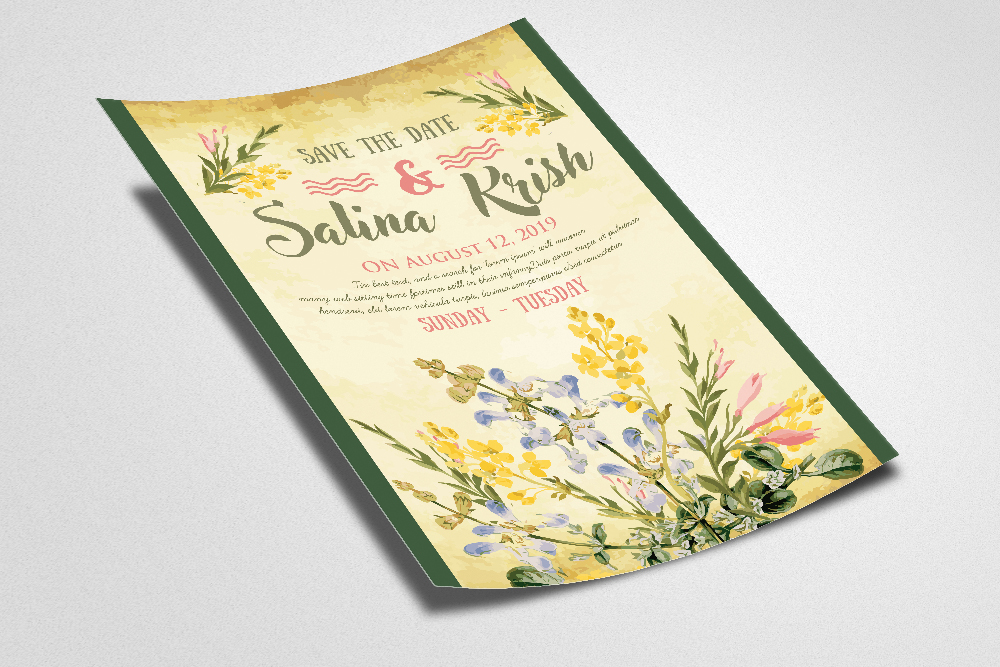 Floral Save The Date Invitation Flyer Template example image 2