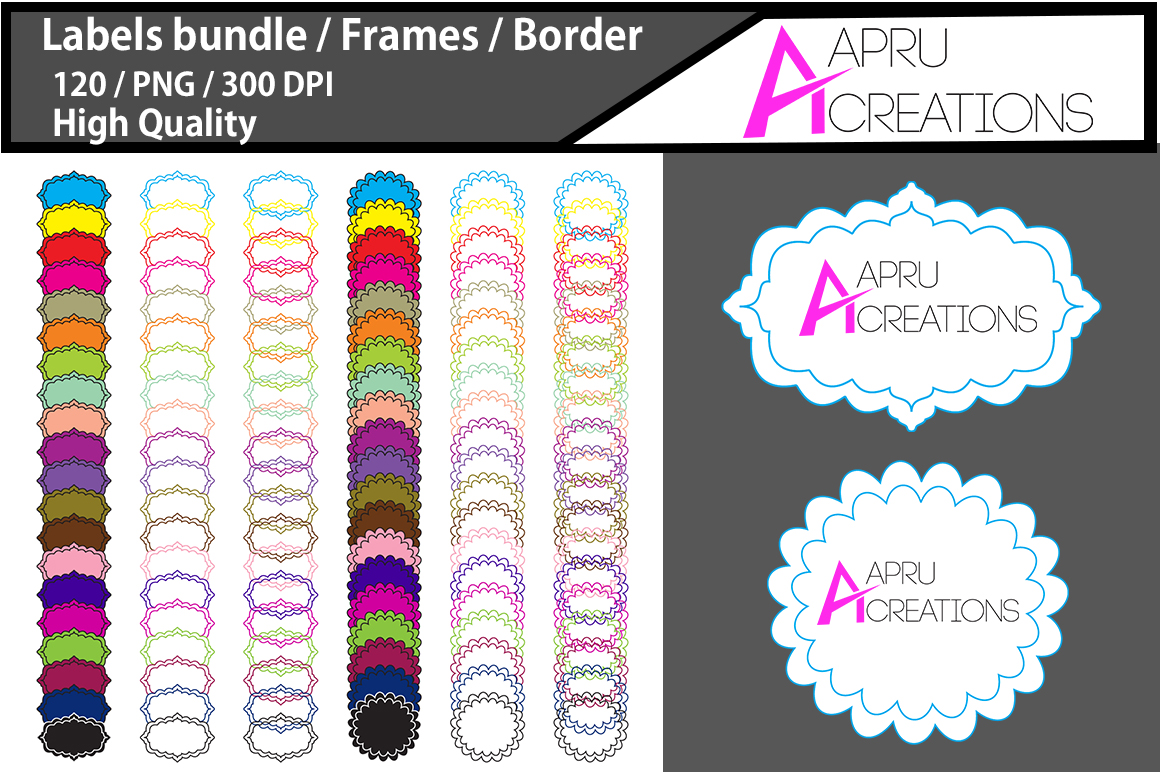 Label frame clipart / label high quality 120 / frames / borders / printable high quality designs / hand drawn frames / commercial use example image 1