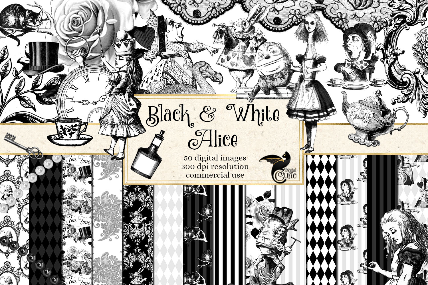 Black and White Alice in Wonderland Graphics example image 1