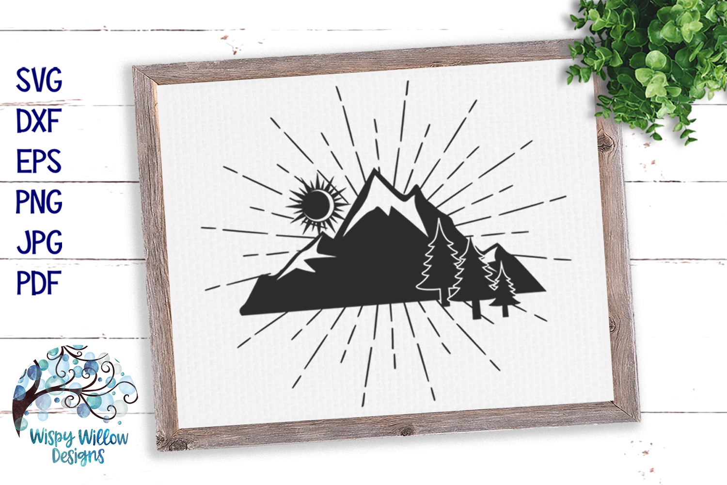 Mountain Silhouette SVG | Outdoors Camping SVG Cut File example image 1