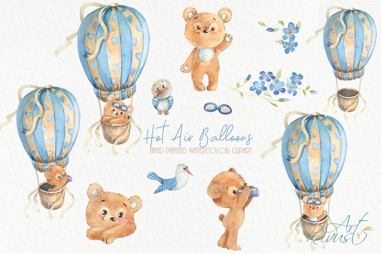 Hot air balloons clipart Cute watercolor bear clip art. Baby example image 2