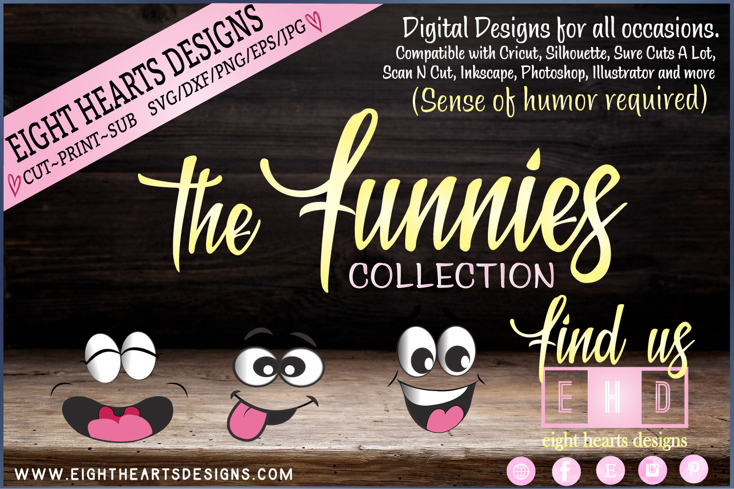 The Funnies Collection of 8 hilarious designs -SVG PNG EPS example image 2