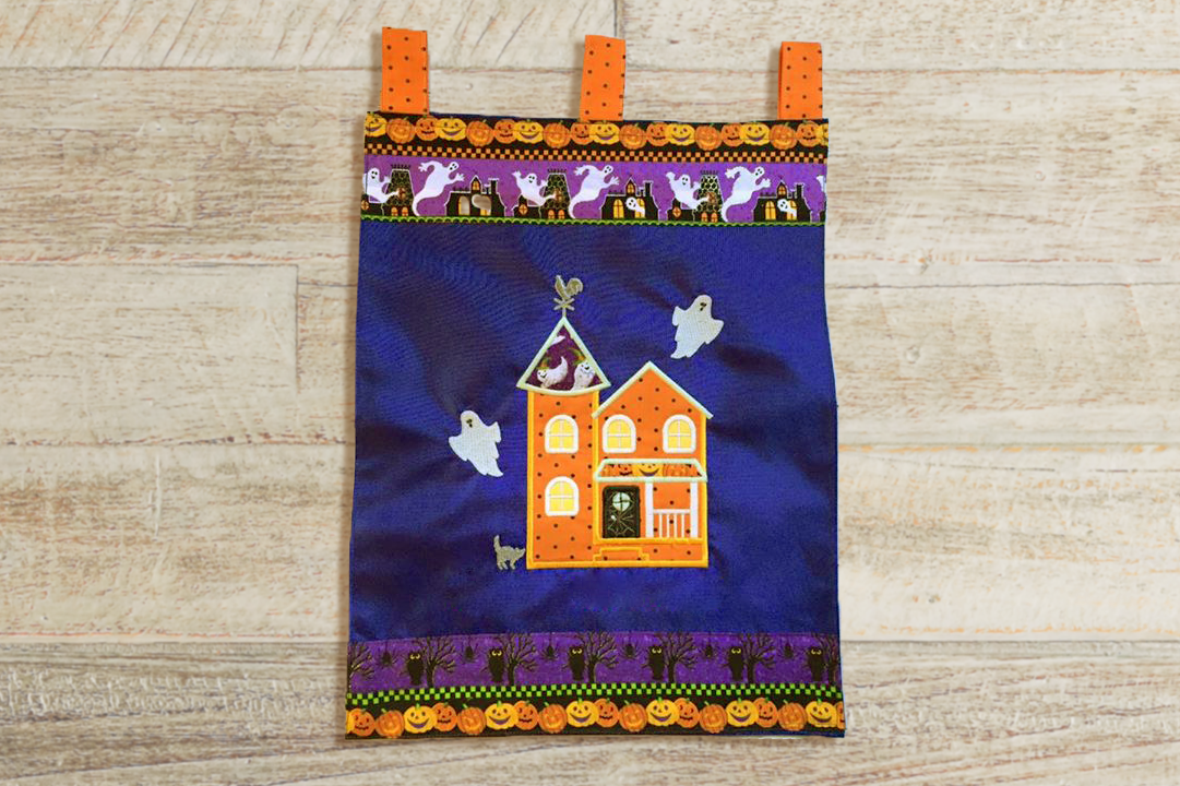 Halloween Haunted House Applique Embroidery Design File example image 2