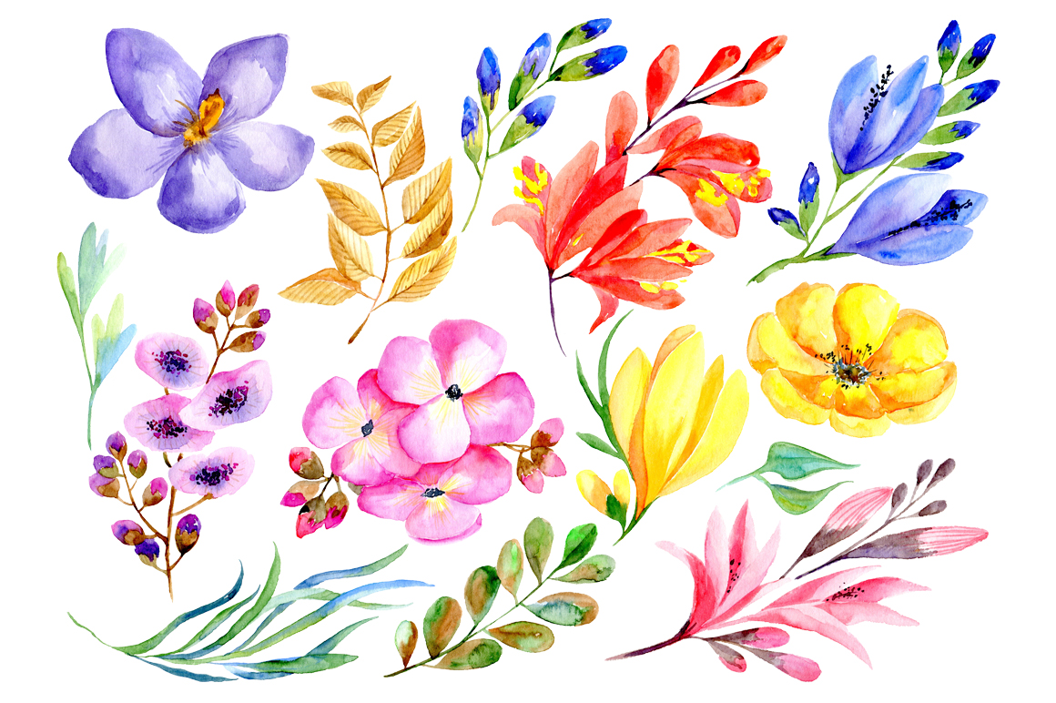 Watercolor flowers and branches example image 2