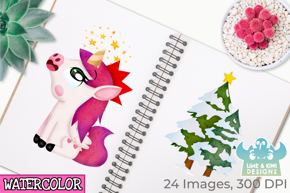 Christmas Unicorns 2 Watercolor Clipart, Instant Download example image 3