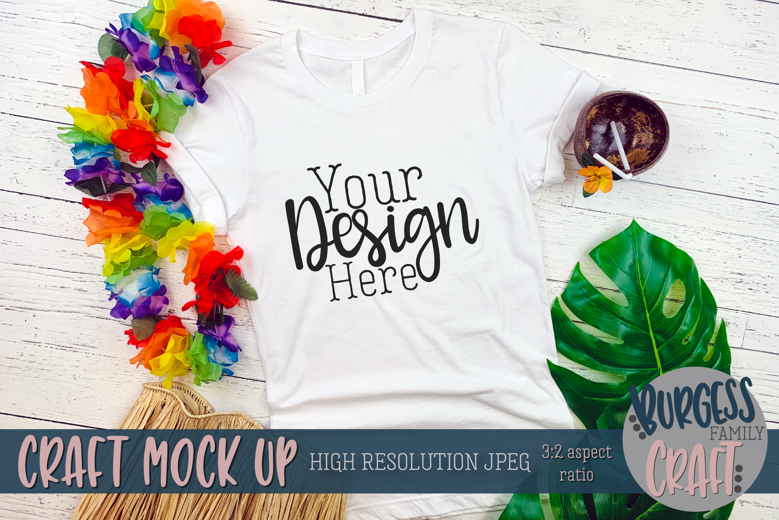 Beach white shirt Craft mock up | High Resolution JPEG example image 1