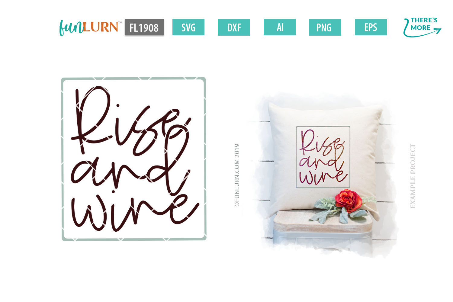 Rise and Wine SVG Cut File example image 1