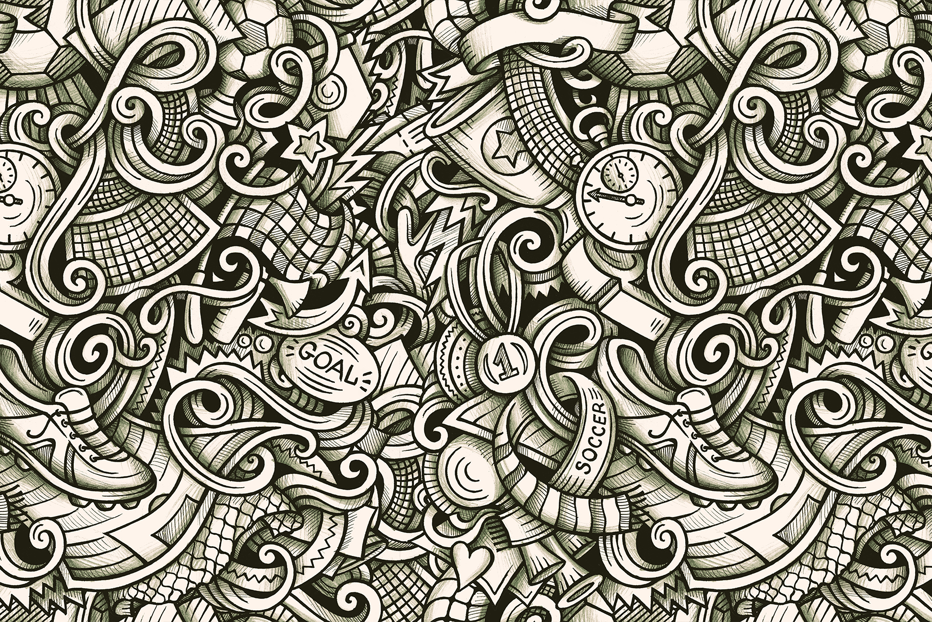 Soccer Graphic Doodle Patterns example image 3