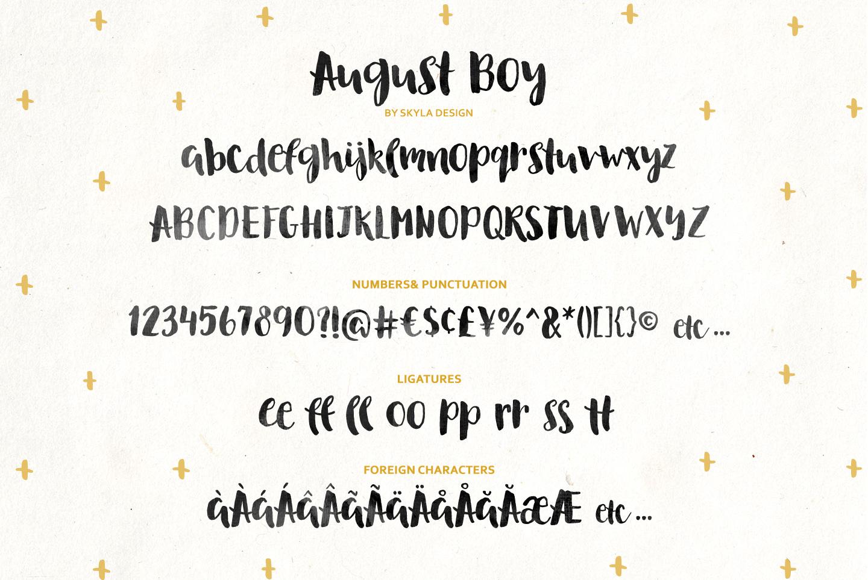 August Boy - Modern, bold, brush font + dingbat clipart example image 8