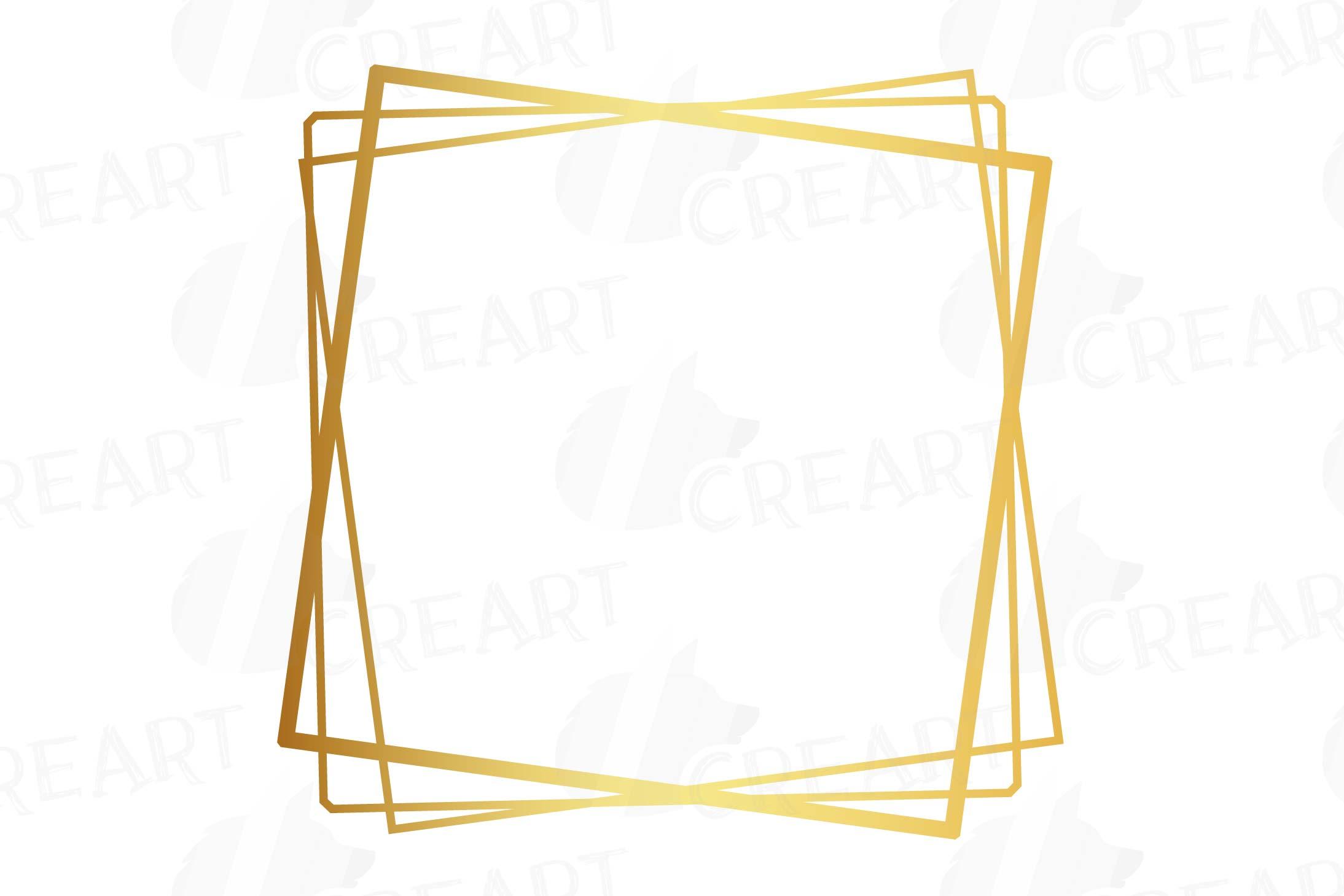 Elegant wedding geometric golden frames, lineal frames png example image 19