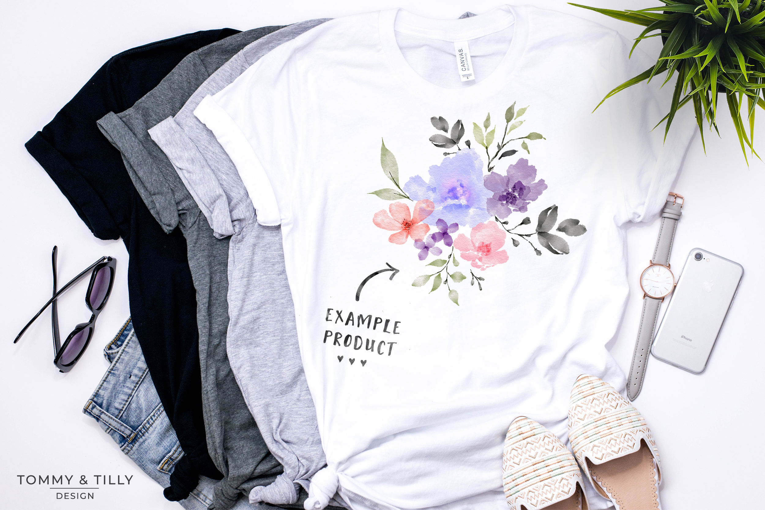 Watercolour Lilac Bouquet - Sublimation | Clipart | PNG example image 3