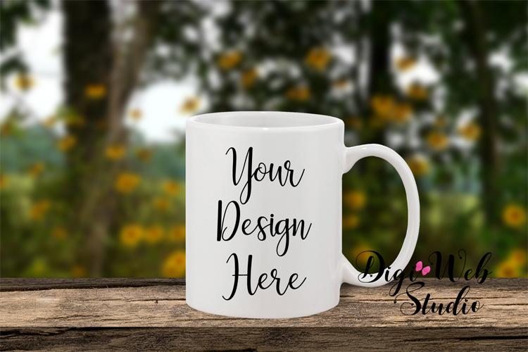 Coffee Cup Mockup - Coffee Mug on Wood Railing / Window Sill example image 1